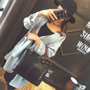 ⚡NOW $30⚡-Black Vintage Style Tote Bag